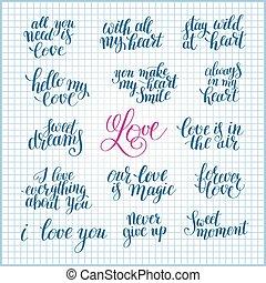 textning, om, sätta, kärlek, citera, valent, positiv, handskrivet
