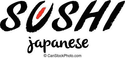 textning, restaurant., bardisk mat, sushi, japansk, etikett, logotype., logo