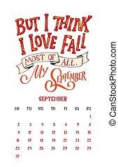 textning, stil, 9., månad, 1, 0, vektor, anföres, oavgjord, 2, kalender, hand, design.
