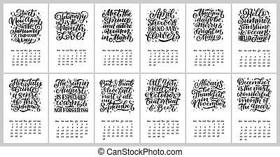textning, stil, 9., months, hand, 1, 0, vektor, anföres, oavgjord, 2, kalender, design.
