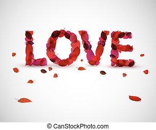textning, vektor, kärlek, illustration