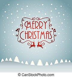 texto, árbol, nieve, pino, decoración, alegre, caer, tarjeta de navidad
