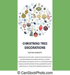 texto, árvore, decorações, círculo, borda, natal