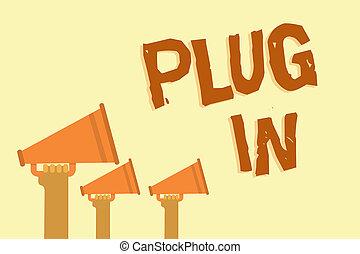 texto, él, signo amarillo, mensaje, electricidad, fondo., de conexión, tenencia, foto, conceptual, altavoces, potencia, actuación, en., importante, poniendo, manos, dispositivo, enchufe, megáfonos, vuelta