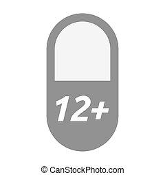 texto, 12+, aislado, píldora