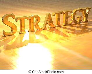 texto, 3d, oro, estrategia