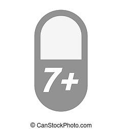 texto, 7+, aislado, píldora