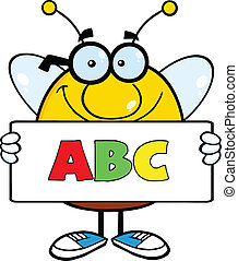 texto, abc, bandeira, segurando, abelha