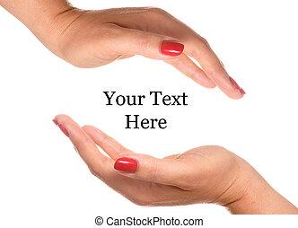 texto, abertos, seu, mão