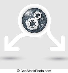 texto, abstratos, setas, dois, textura, números, cogwheels, quadro