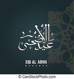 texto, al, adha, eid, árabe, caligrafía, celebración