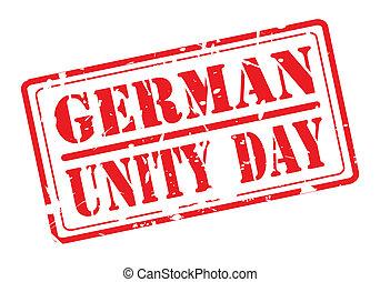 texto alemão, selo, unidade, dia, vermelho