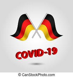 texto alemão, título, covid-19, vermelho, bandeiras, alemanha, jogo, waving, -, dois, 3d, ícone, prata, cruzado, vetorial, coronavirus, polaco