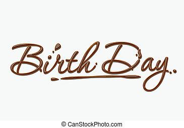 texto, aniversário, chocolate