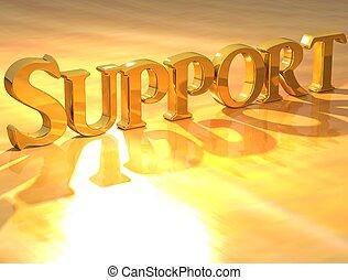 texto, apoio, ouro, 3d