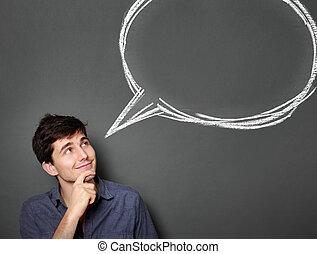 texto, arriba, el mirar joven, blanco, hombre, burbuja, ...