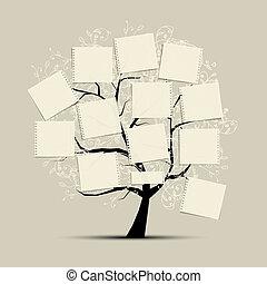 texto, arte, seu, árvore, papeis