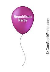 texto, balloon, republicano, isolado, partido