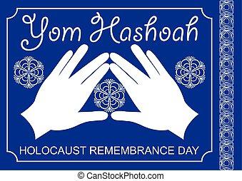 texto, bendición, yom, design., holocausto, corazón, blanco, tema, tradicional, david, motivo, prospere, manos, hashoah., estrella, hebreo, cohen, azul