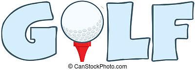 texto, bola, baliza golfe