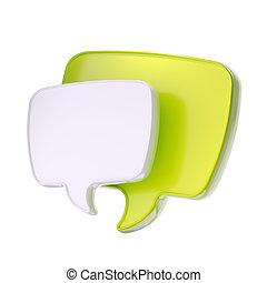 texto, borbulho fala, ícone, isolado