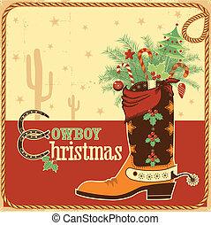 texto, bota, tarjeta de navidad, vaquero