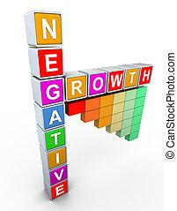 texto, buzzword, crescimento, negativo, 3d