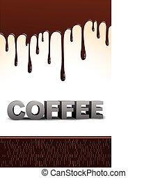texto, café, gotejando, chocolate