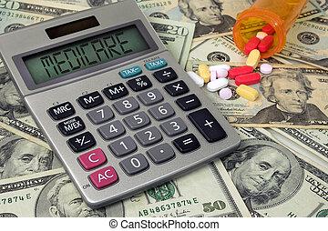 texto, calculadora, medicare, pílulas, sinal