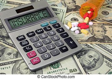 texto, calculadora, seguro, pílulas