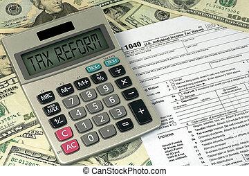 texto, calculadora, sinal, imposto, reform