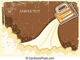 texto, cerveja, grunge, background.vector, ilustração