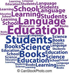 texto, concept., tag, illustratio, vetorial, wordcloud., cloud., educação