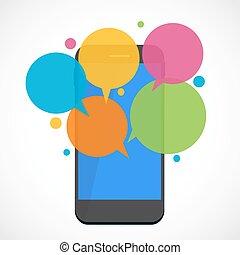 texto, concepto, mensajería, plano