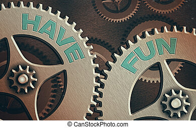 texto, conceptual, actuación, foto, señal, tarea, disfrute, amusement., tener, fun., proporciona, sí mismo