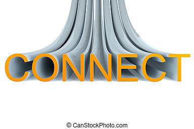 texto, conectar, 3d