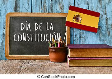 texto, constitución, día, escrito, en, español