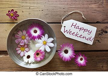 texto, cosmea, tazón, flores, fin de semana, plata, feliz