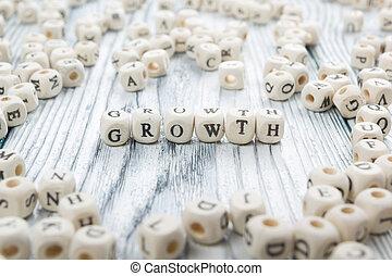 texto, de, crecimiento, en, cubes., de madera, abc