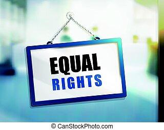 texto, derechos, signo igual