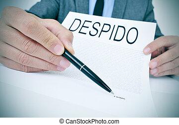 texto, despido, español, despido, documento, exposiciones,...
