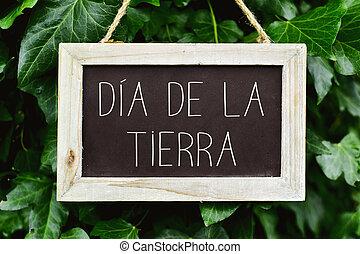 texto, dia, de, la, tierra, día de tierra, en, español