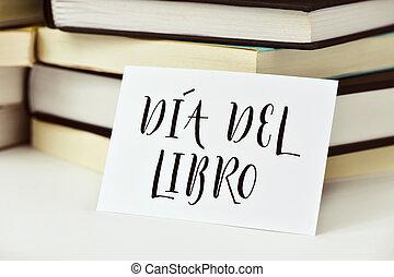 texto, dia, del, libro, libro, día, en, español