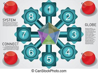 texto, dois, círculo, quadrados, balões, retângulo