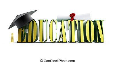 texto, educação, e, boné graduação