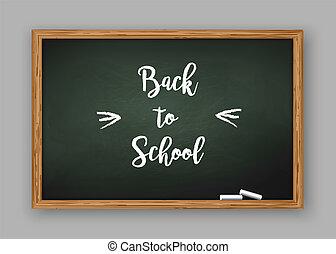 texto, escola, costas, chalkboard