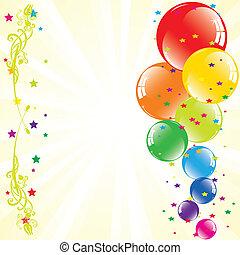 texto, espaço, festivo, vetorial, light-burst, balões