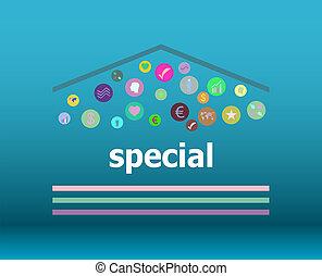 texto, especial, en, digital, fondo., educación, concepto