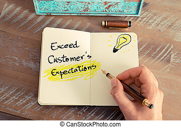texto, exceed, manuscrito, expectations, customer's