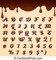 texto, feito, chocolate